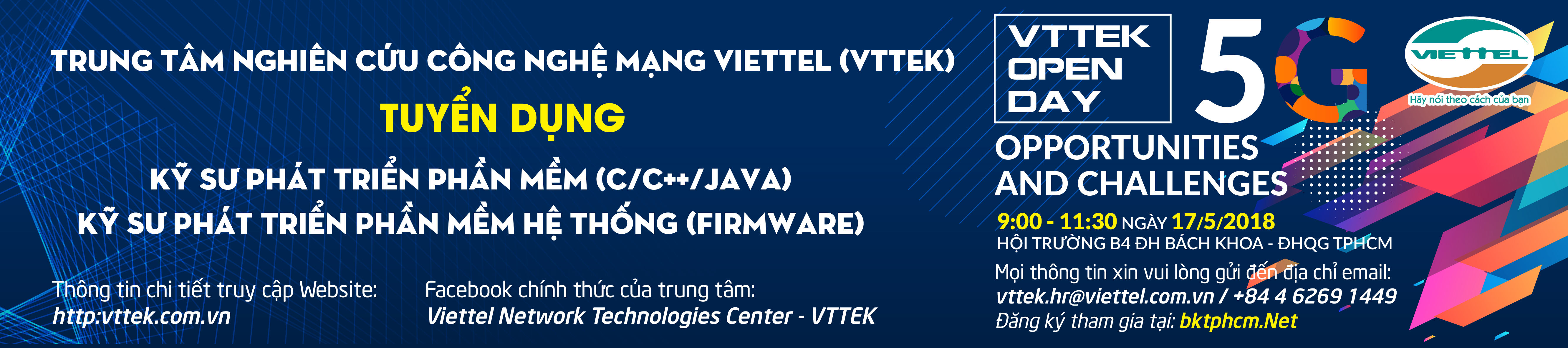 "Hội thảo công nghệ & Hướng nghiệp ""VTTEK Open Day: 5G Opportunities and Challenges"""